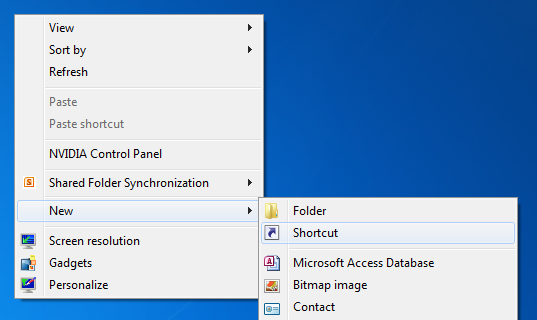 A screenshot depicting the desktop's context menu with new.shortcut highlighted